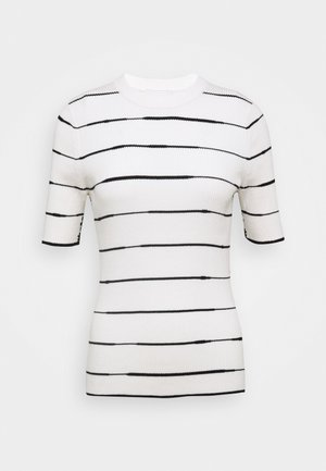 STRIPED - Print T-shirt - white/black