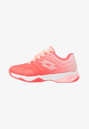 MIRAGE 300 II ALR - Clay court tennis shoes - red fluo/all white/sweet rose