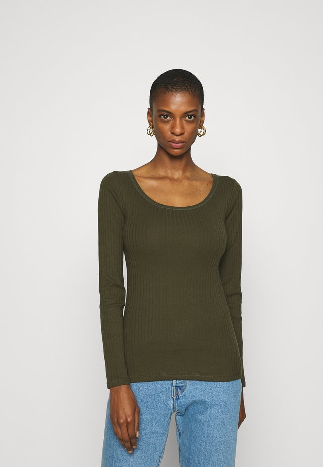 SCOOP NECK - Long sleeved top - khaki