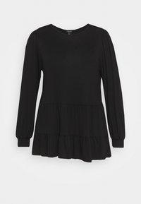 New Look Curves - TIER PEPLUM - Long sleeved top - black - 0
