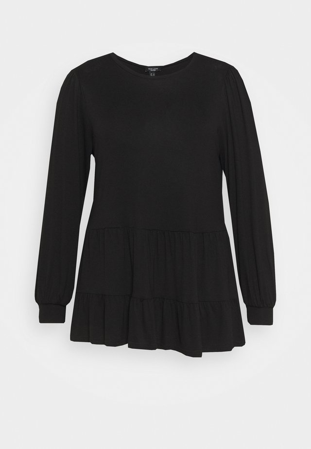 TIER PEPLUM - Long sleeved top - black
