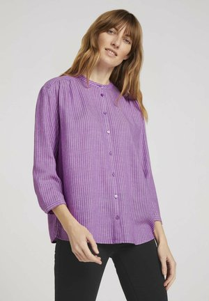 Blouse - lilac offwhite vertical stripe