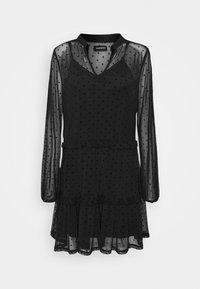 Even&Odd - DOBBY MESH LONG SLEEVES LOOSE FIT MINI DRESS - Kjole - black - 4