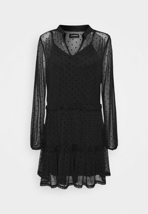 DOBBY MESH LONG SLEEVES LOOSE FIT MINI DRESS - Sukienka letnia - black