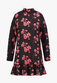 Missguided - HIGH NECK FRILL HEM DRESS FLORAL - Vestido informal - black - 5