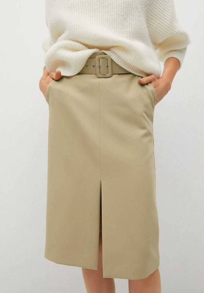 Mango - PENCIL - A-line skirt - beige
