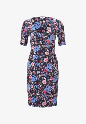 Jersey dress - navy watercolor flower design