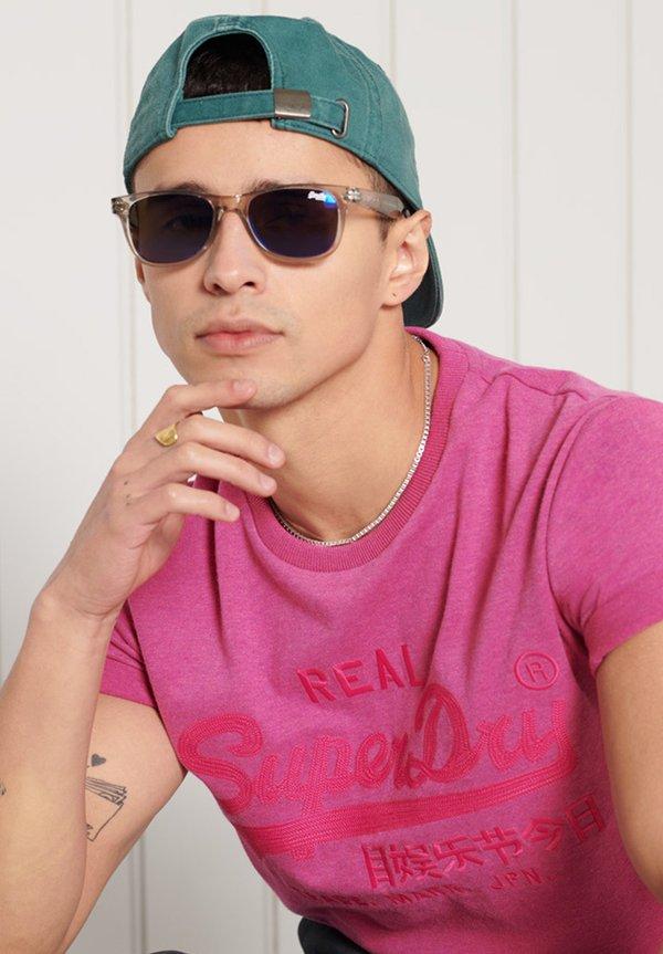 Superdry T-shirt z nadrukiem - magenta marl/rÓżowy Odzież Męska SROV