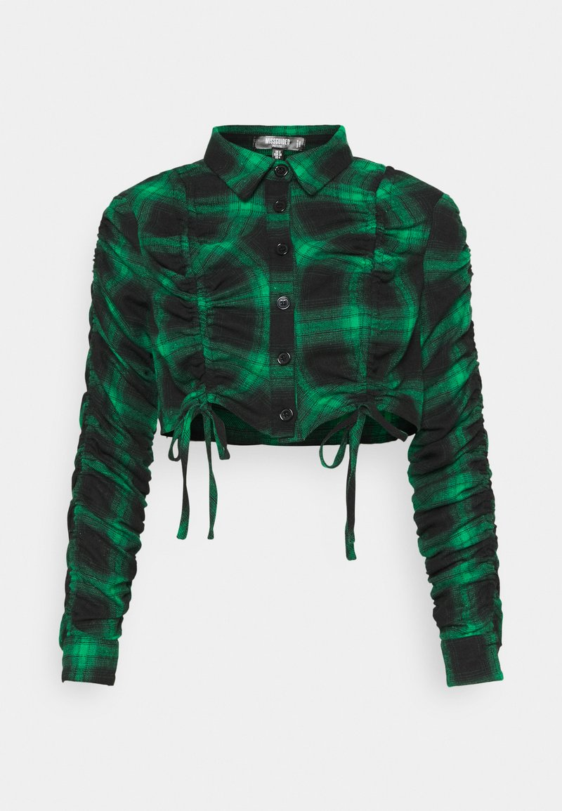 Missguided Petite - RUCHED DETAIL CHECK  - Skjorte - green