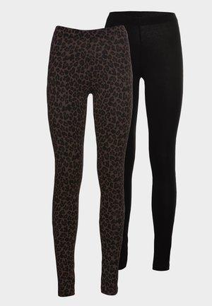 2 PACK - Leggings - Trousers - black/brown