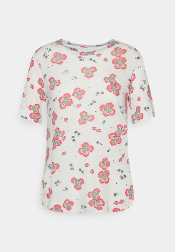 FLORAL TEE - T-shirt med print - offwhite
