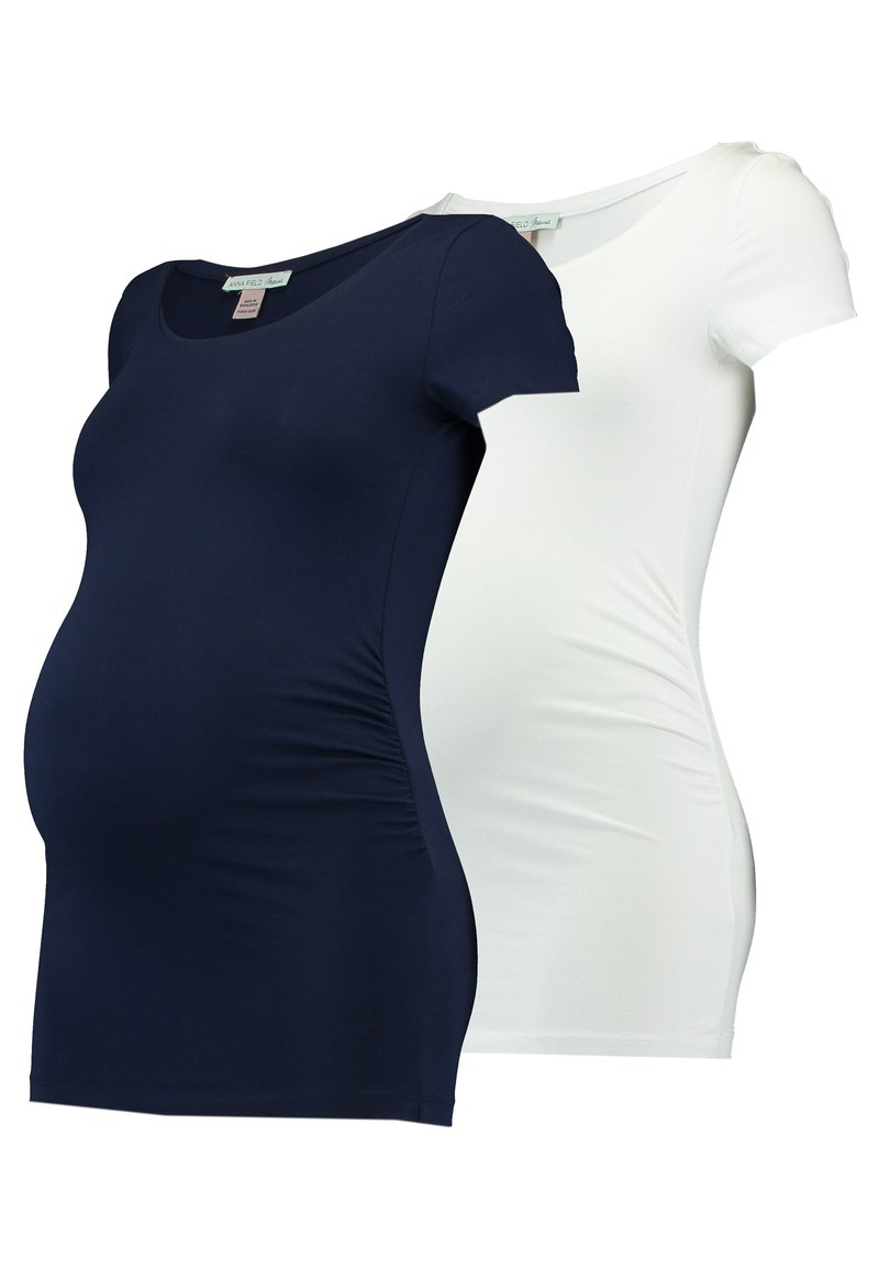 Anna Field MAMA - 2 PACK - Basic T-shirt - white/dark blue