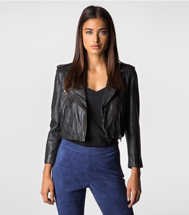 MUUBAA THANATOS BIKER - Leather jacket - black