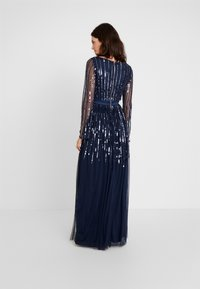 Maya Deluxe - SQUARE NECK STRIPE EMBELLISHED MAXI DRESS WITH FLUTED SLEEVES - Occasion wear - navy - 3