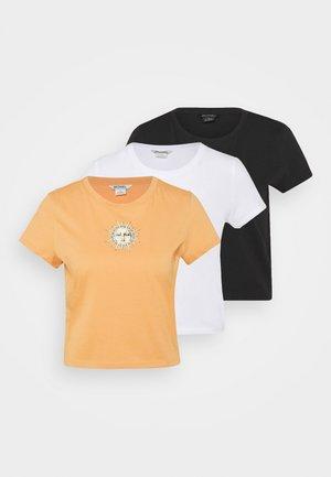 TEE 3 PACK - Print T-shirt - off black peaceflower/orange medium dusty sunface/white solid