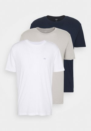 CREW 3 PACK - Basic T-shirt - dark blue/white/taupe