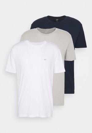 CREW 3 PACK - T-shirts - dark blue/white/taupe