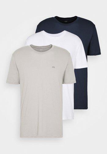 CREW 3 PACK - Basic T-shirt - dark blue/white/taupe