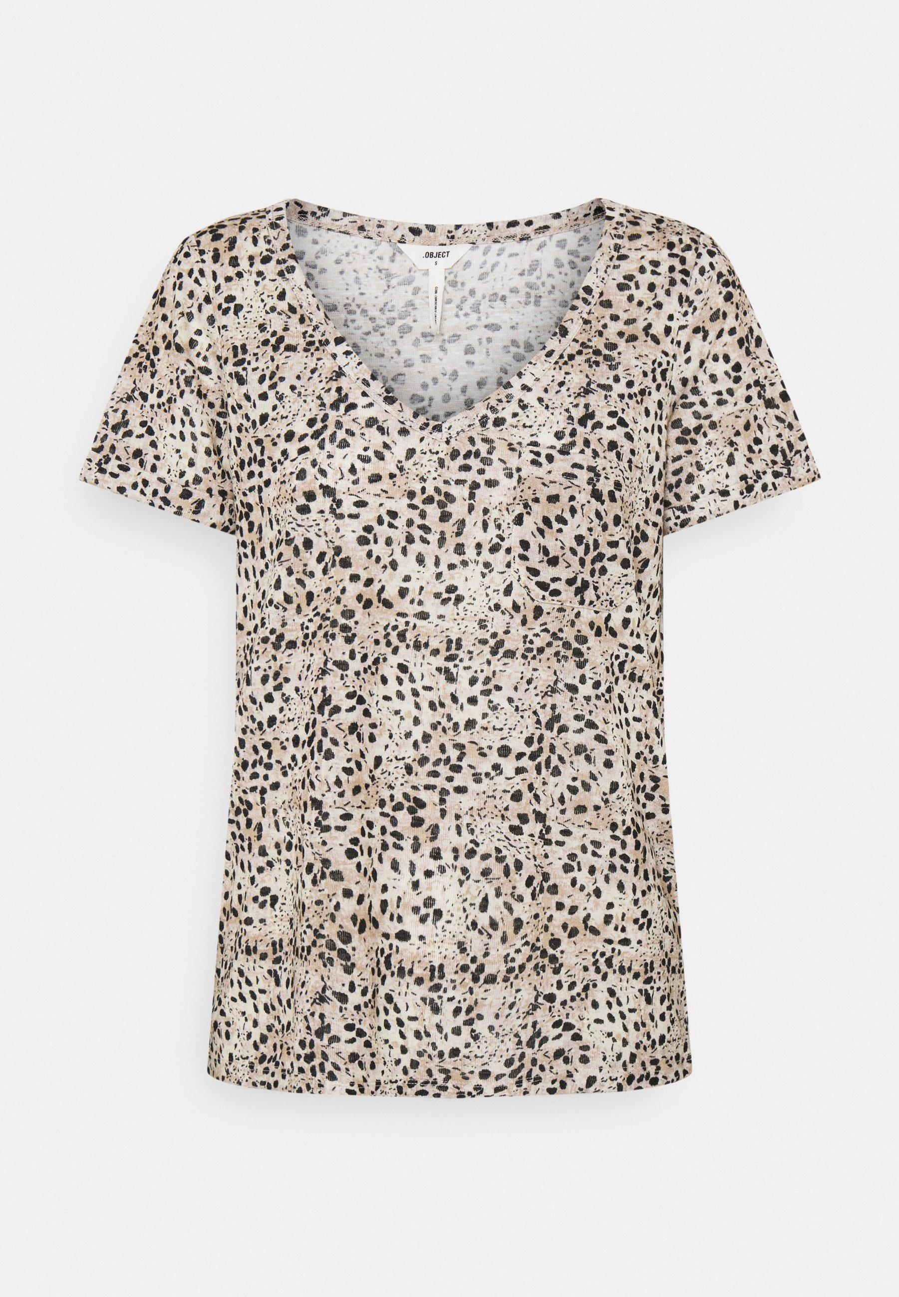 Women OBJTESSI SLUB V NECK SEASON - Print T-shirt