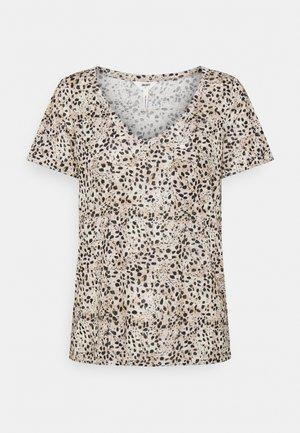 OBJTESSI SLUB V NECK SEASON - T-shirt print - sandshell