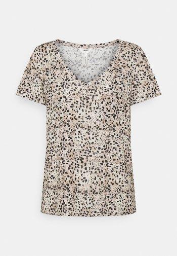 OBJTESSI SLUB V NECK SEASON - Print T-shirt - sandshell