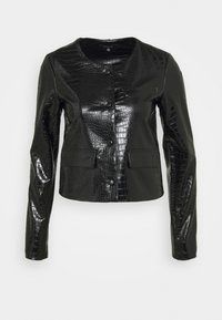 Who What Wear - VEGAN CROC COLLARLESS JACKET - Faux leather jacket - black - 4