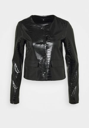VEGAN CROC COLLARLESS JACKET - Faux leather jacket - black