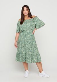 Zizzi - Pleated skirt - light green leaf - 0