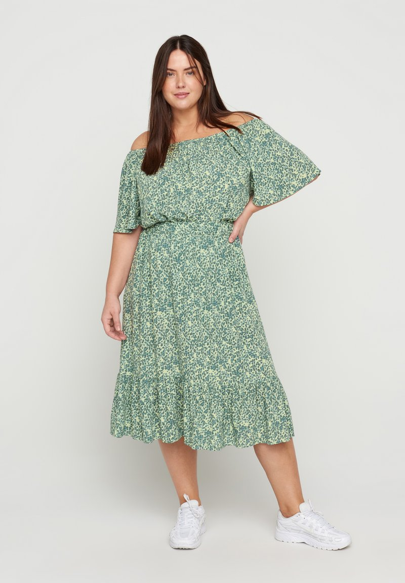 Zizzi - Pleated skirt - light green leaf