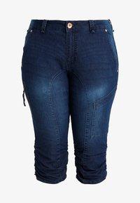 Zizzi - CAPRI - Denim shorts - dark blue denim - 3