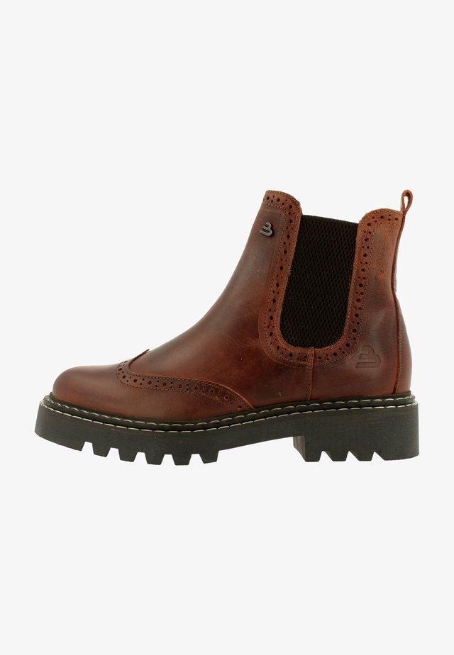 Platform ankle boots - tan/cognac