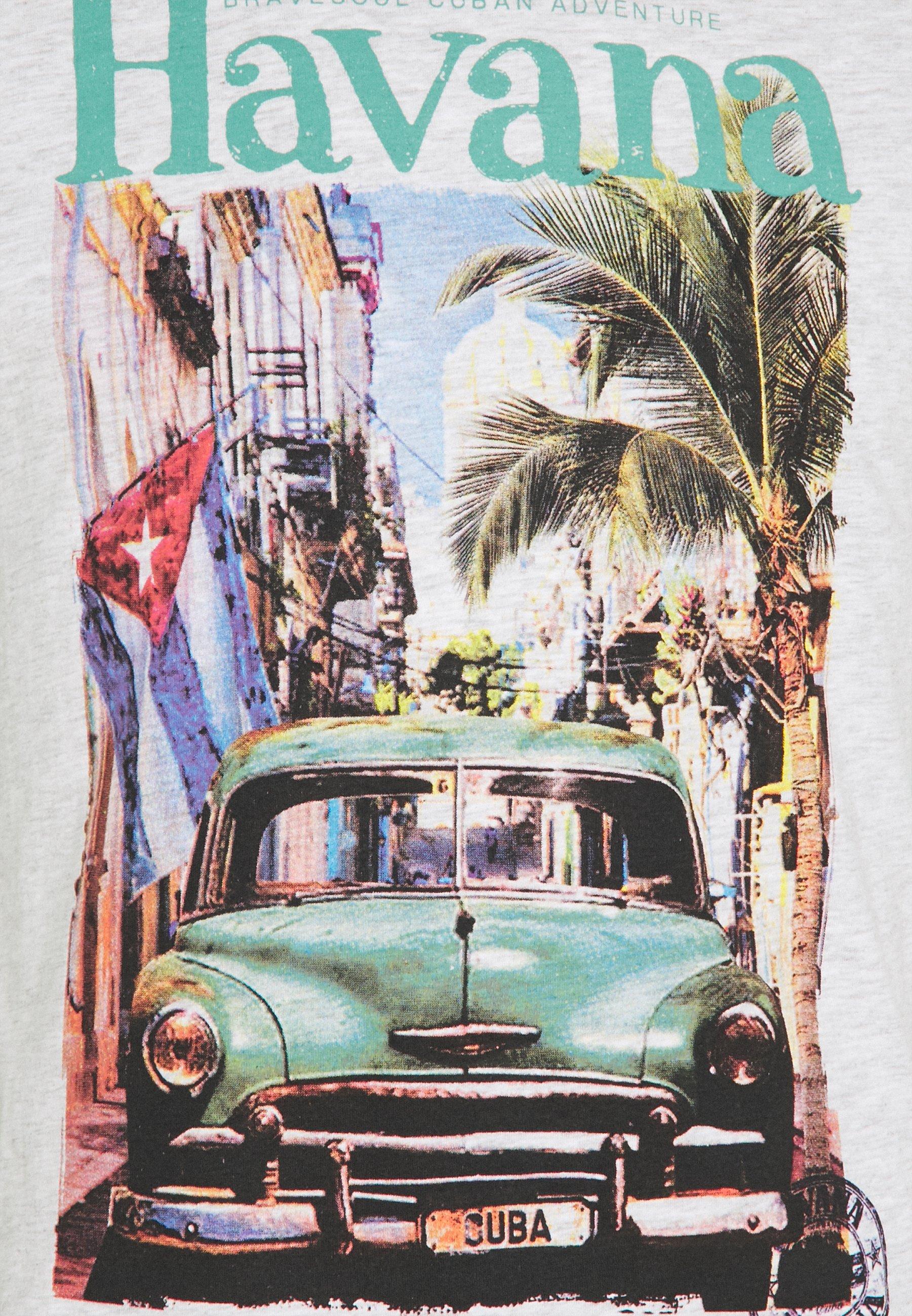 Brave Soul CAYOX - Print T-shirt - ecru marl 3ydme