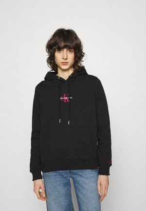 MONOGRAM LOGO - Sweat à capuche - black/party pink