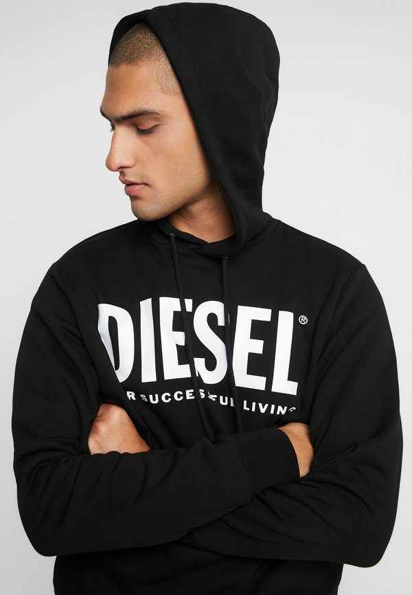 Diesel HOOD DIVISION LOGO - Bluza z kapturem - black/czarny Odzież Męska HXPB