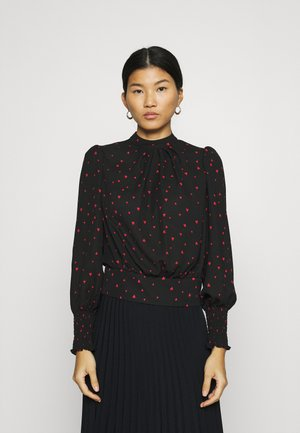 HEART PRINT SHIRRED WAIST LONG SLEEVE - Blouse - black