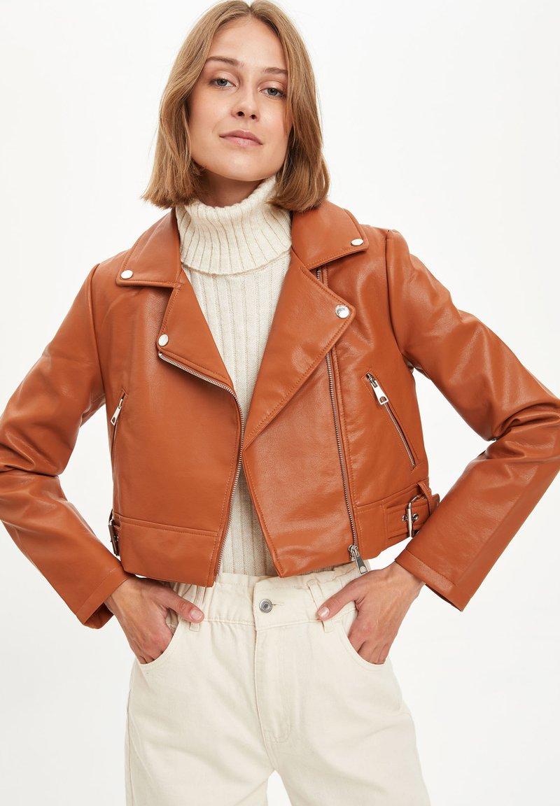 DeFacto - Faux leather jacket - brown