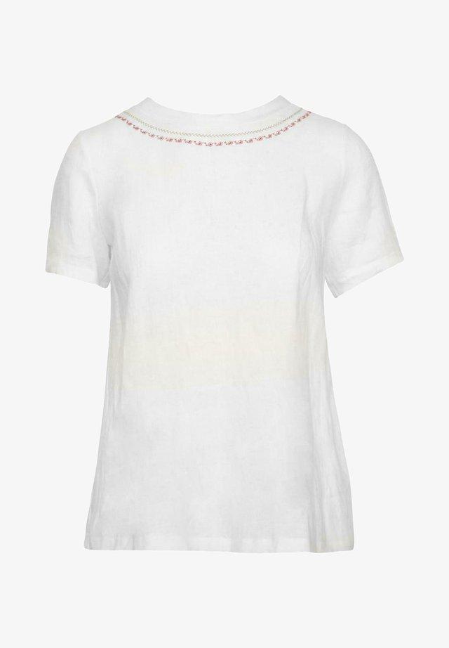 Print T-shirt - weiß/beere