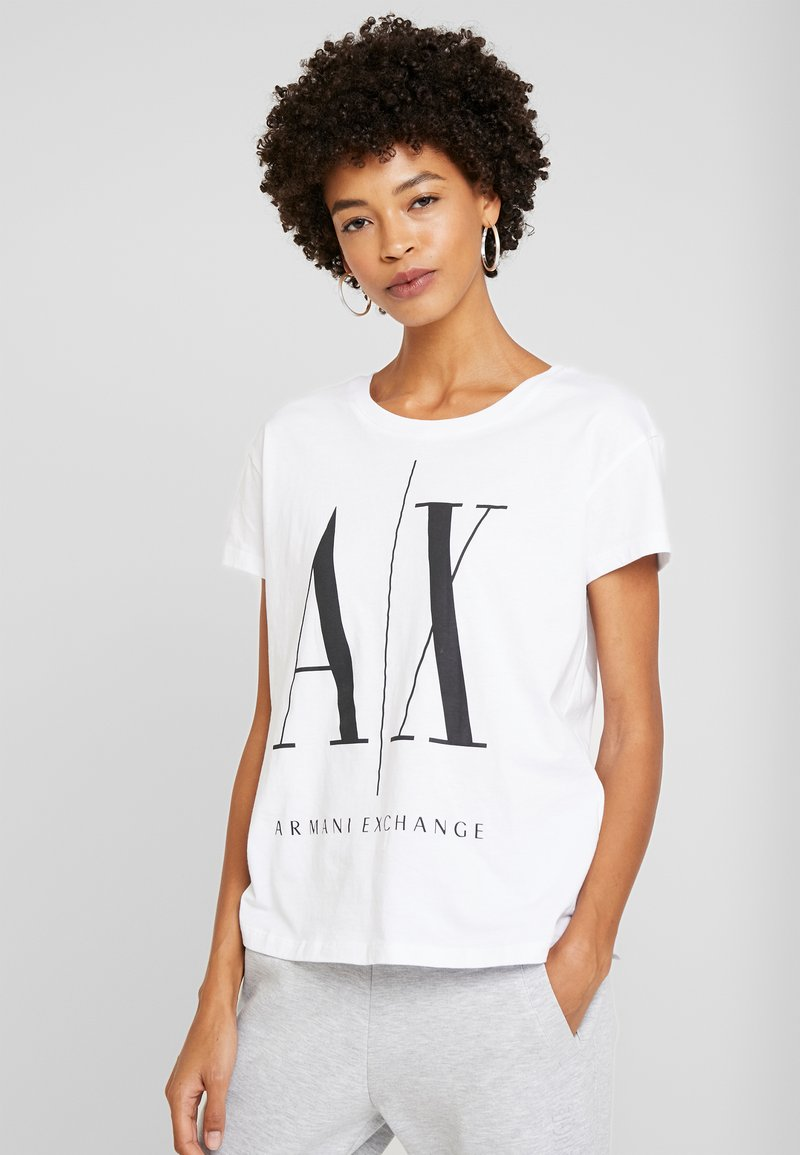 Armani Exchange - Print T-shirt - white/black