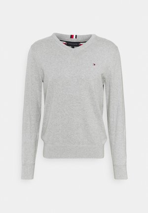 PIMA V NECK - Jersey de punto - light grey heather