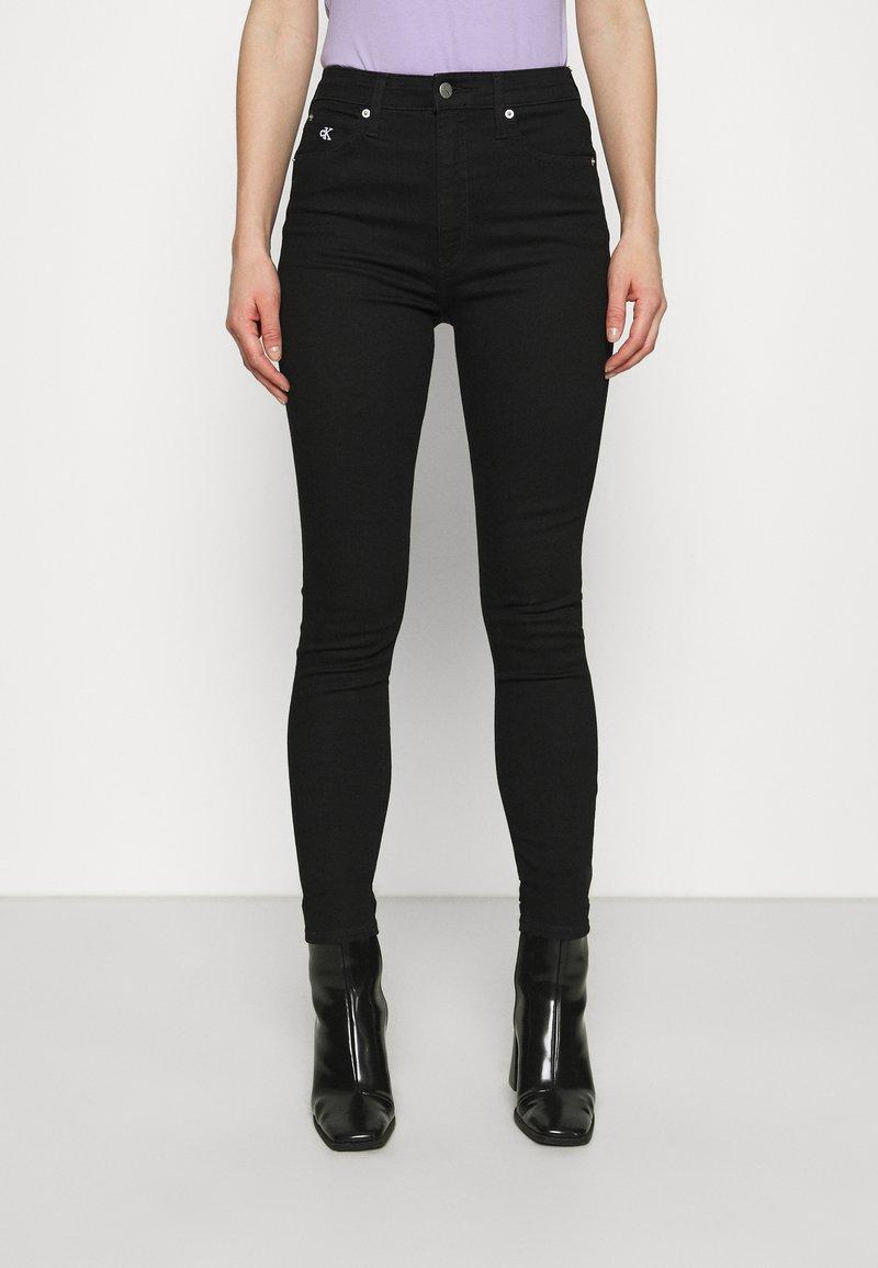 Calvin Klein Jeans - HIGH RISE ANKLE - Skinny džíny - denim black