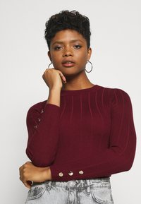 Missguided - BUTTON CUFF CREW NECK - Trui - burgundy - 3
