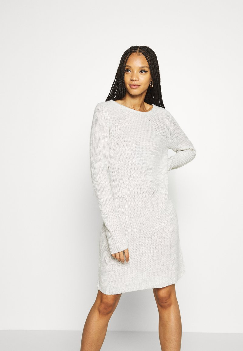 Vila - VISURIL O-NECK DRESS - Jumper dress - super light grey melange
