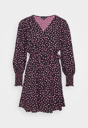 WRAP MINI SPOT - Day dress - black/pink