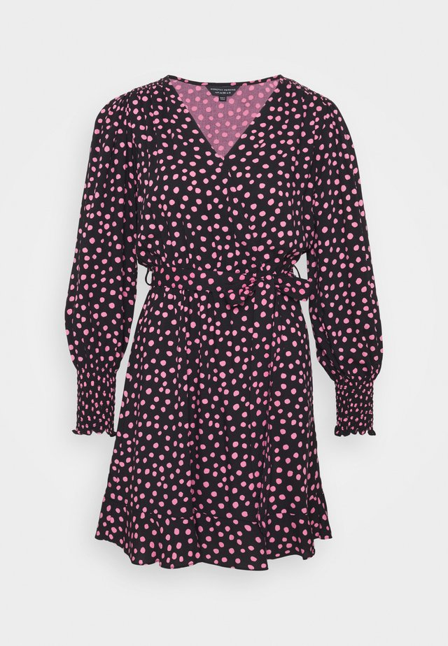 WRAP MINI SPOT - Korte jurk - black/pink