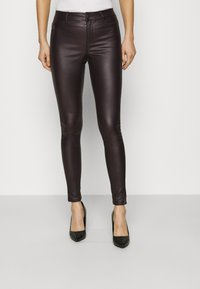 Dorothy Perkins - COATED FRANKIE - Trousers - berry - 0