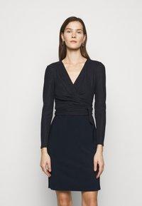 Lauren Ralph Lauren - BONDED DRESS COMBO - Shift dress - lighthouse navy - 0