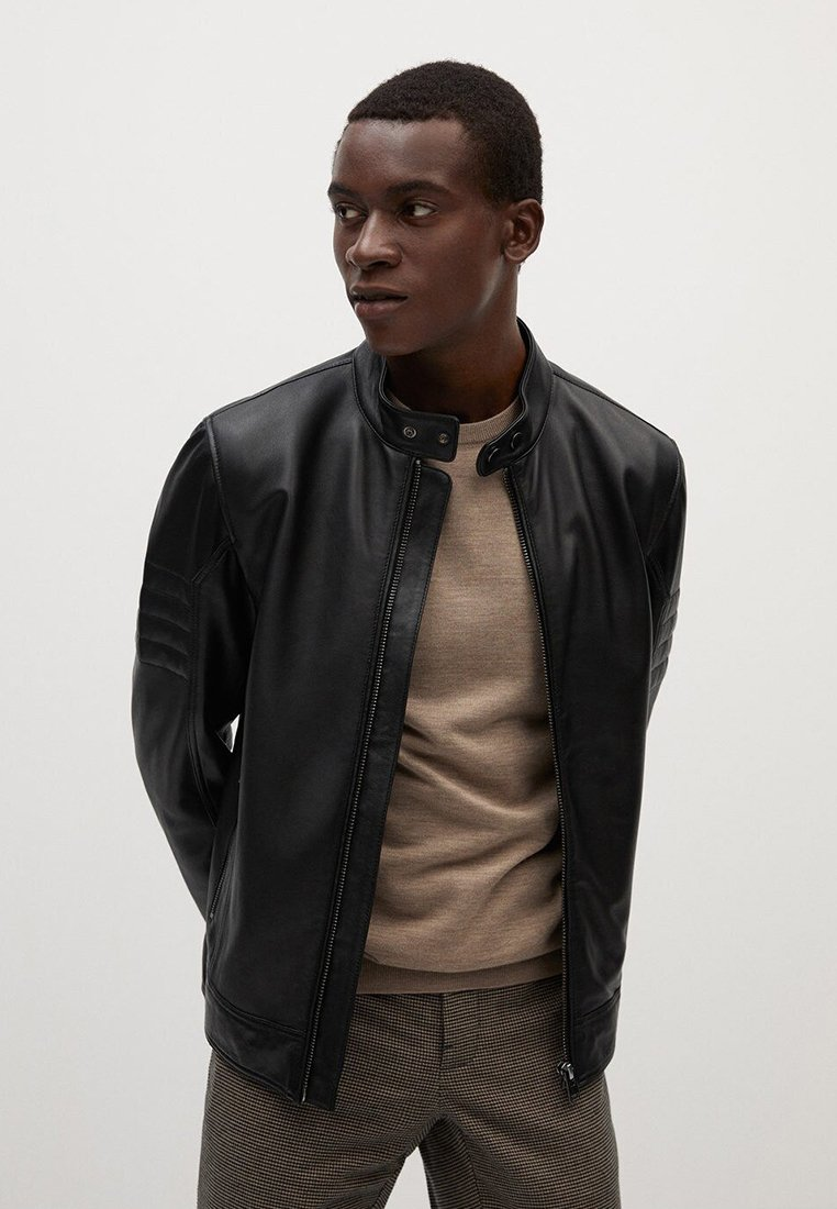 Mango - Leather jacket - noir