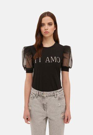 CON SCRITTA IN STRASS - Print T-shirt - nero