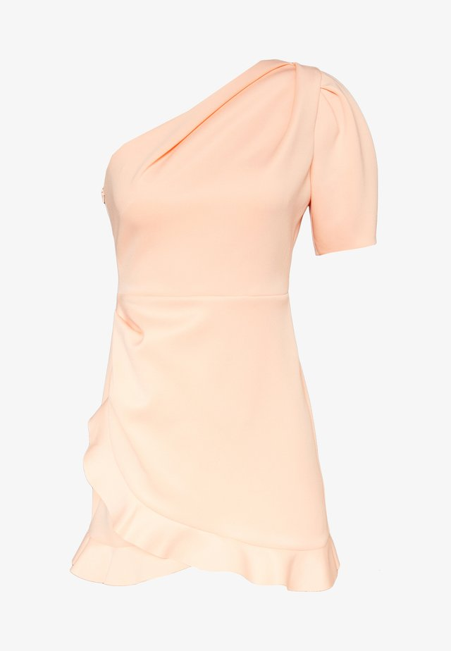 ONE SHOULDER SCUBA DRESS - Robe de soirée - peach
