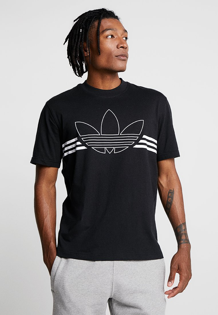 adidas Originals - OUTLIN TEE - Print T-shirt - black